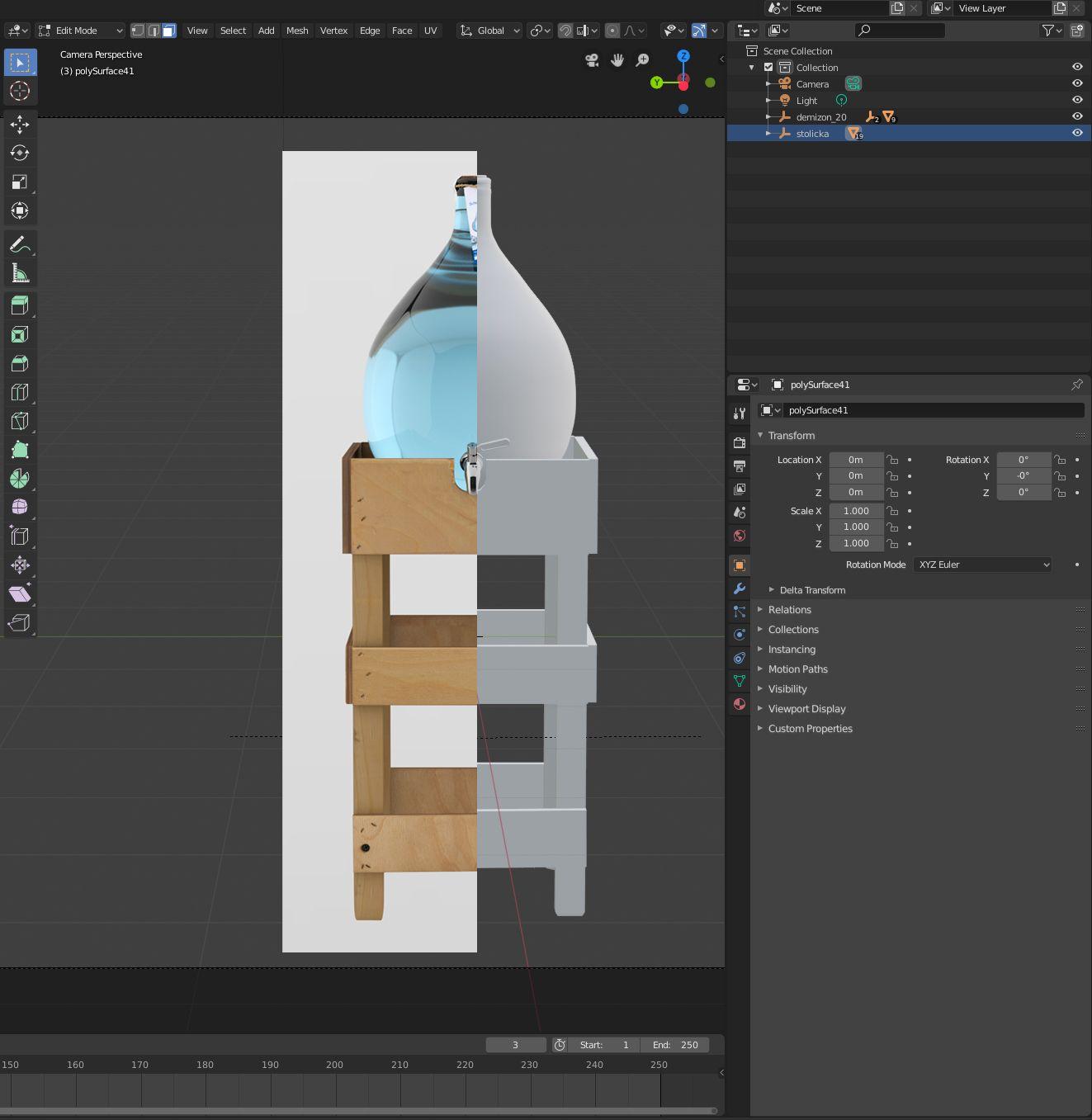 3D Blender screen demižonu